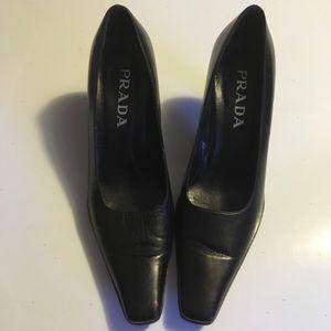 PRADA black square toe heels size 37.5